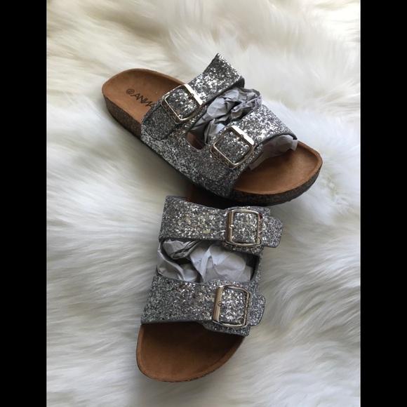 Saleanna Silver Glitter Buckle Sandals